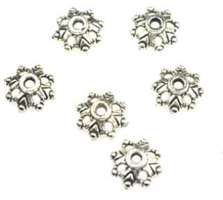 100 Antiqued Silver Plated Flower Beadcap Bead Caps 9MM