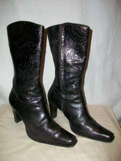 Womens Ladies Antonio Melani Black Leather Western Boots Size 6 1/2M 6