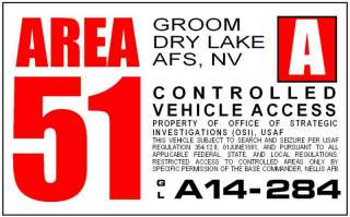 Area 51 Restricted Area Window Cling Decal Red