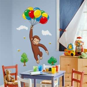 New Giant CURIOUS GEORGE WALL DECALS Kids Room Stickers Decorations