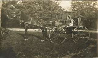 MAN, BOY, HORSE CARRIAGE & VINTAGE REAL PHOTO POSTCARD