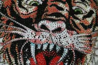 ED Hardy Mens Platinum New Tiger T shirt Stones White