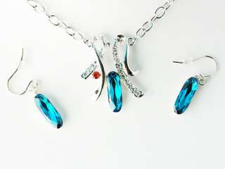 Swarovski Indicolite Crystal Ribbon Fashion Jewelry Necklace Pendant