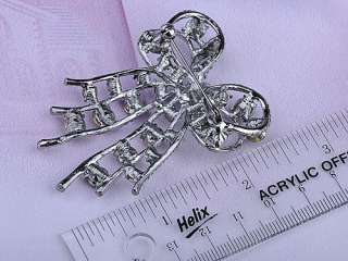 Cute Fun Black Crystal Rhinestone Silver Tone Christmas Ribbon Bow Pin