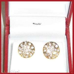 THE BEST 14K GOLD GP ETOILE CZ STUDDED BUTTON EARRINGS