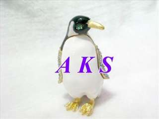 Charm Penguin Crystal Enamel Jewelry Trinket Box AA79