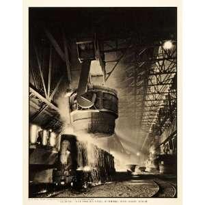 Steel Mill Ladle Ingot Molds   Original Halftone Print