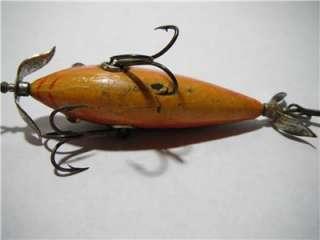 Antique Heddons Wood DOWAGIAC FISHING LURE Glass Eye