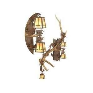 Meyda Custom Lighting 82834 Antlers Elk 3 Light Vertical Wall Sconce