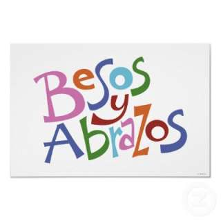 Besos y Abrazos en muchos colores. / Hugs and kisses lettered in many