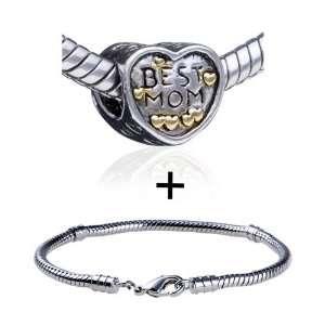 Mothers Day Gifts Heart Pattern Best Mom European Charm Bead Bracelet
