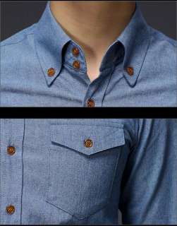Mens Fashion Casual Slim Fit Dress Jeans Denim Shirts 2 Color 4 Size