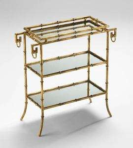 GOLD BAMBOO TRAY TABLE Mirror Shelves HOLLYWOOD REGENCY