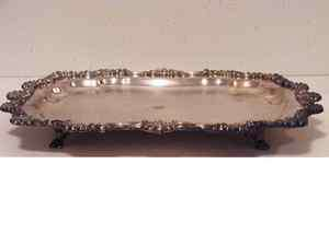 FB ROGERS SILVER PL FOOTED SERVING PLATTER/TRAY