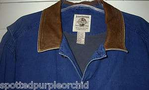 VINTAGE MENS BANANA REPUBLIC DENIM LEATHER TRAVEL SAFARI LINED SHIRT