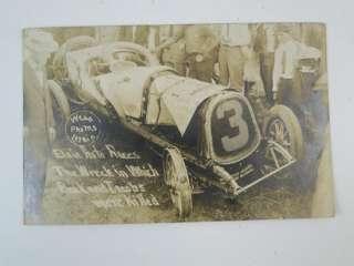 Antique 1912 Elgin Auto Races Crash Wreck Indy Race Car Real Photo