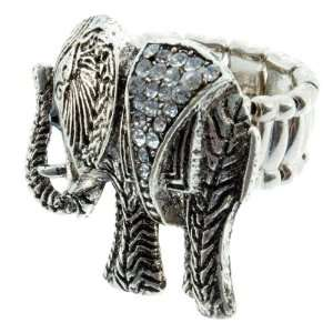 Silver tone stretch band Elephant Ring Jewelry