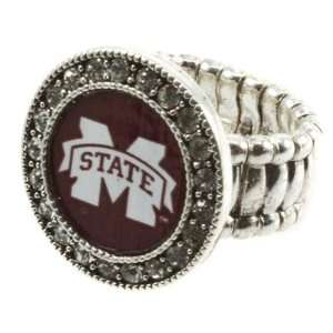 MSU, Silver toned stretch band ring with crystal rhinestones
