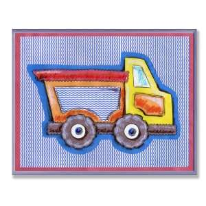 The Kids Room Yellow and Orange Dump Truck Blue Stripe