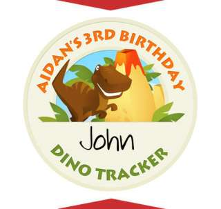 DINOSAUR Boy Birthday Party Favors NAME TAG STICKERS