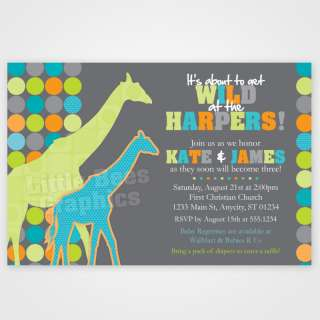 20 Giraffe Jungle Safari Baby Shower Invitations