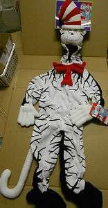 Nwt Cat in the Hat Costume Covers Hands Feet Zip up Front So Cute Hat