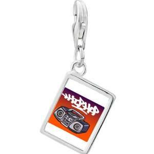 Silver Gold Plated Music Hip Hop Recorder Photo Rectangle Frame Charm