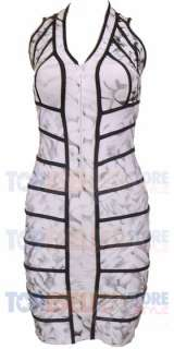 SAVANNAH WHITE FLORAL PRINT RUNWAY BANDAGE DRESS S M L CELEBRITY