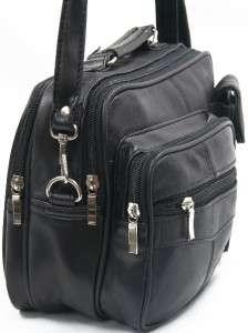 BLACK Genuine NWT LEATHER TRAVEL SHOULDER BAG ORGANIZER