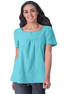 New 8143   Landau Womens Empire Seam Solid Scrub Top