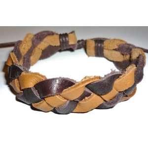 Brown Braided Bracelet   Leather   Dark Brown , Light