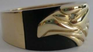 Men Franklin Mint Solid 10K Gold Diamond Eagle Ring