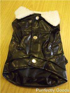 Dog Puppy Leather Look Bike Jacket Coat Black NEW 20cm SMALL
