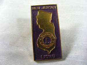 Vintage 1960s New Jersey Lions Club Pin Pinback