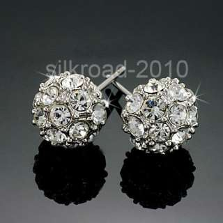 Cute 18K white ball Swarovski Crystal GP earrings BB9