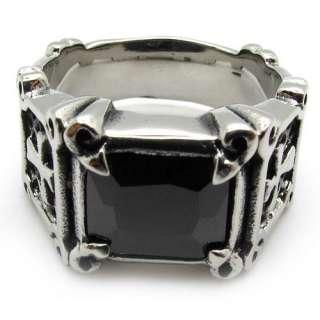 silver stainless steel jesus cross gemstne charm party ring