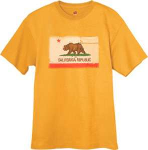 CA California Bear State Flag tee shirt YELLOW T SHIRT