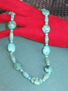 Turquoise Beads Necklace with Sterling Heart clasp Signed F.L.D