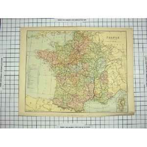ANTIQUE MAP FRANCE ENVIRONS MEDITERRANEAN BAY BISCAY Home & Kitchen