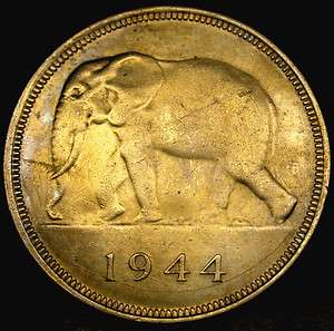 1944 BELGIAN CONGO 50 Francs SCARCE Elephant Coin Extra Desirable KING