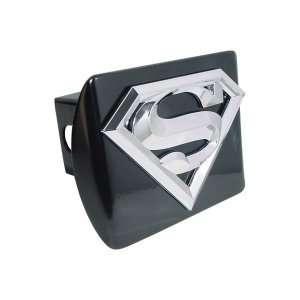 Superman Black 3D Chrome S Emblem Steel Trailer Hitch Cover Fits 2