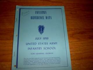 ARMY EXTRACT INFANTRY REFERENCE DATA FORT BENNING 1959