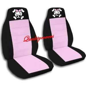 2 Black and sweet pink GIRLY SKULL car seat covers for a
