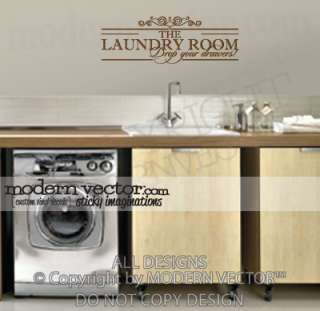 LAUNDRY ROOM Vinyl Wall Quote Decal DROP YOUR DRAWERS