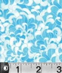 Stylized Chrysanthemum Floral Fabric in Shades of BLUE
