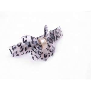 Small Butterfly Bow Leopard Animal Print French Barrette Hair Clip for