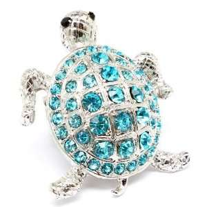 Turtle bling bling Ocean Blue Crystals Cocktail ring