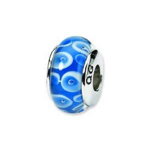 Blue/White Hand blown Glass Bead (4mm Diameter Hole): West Coast