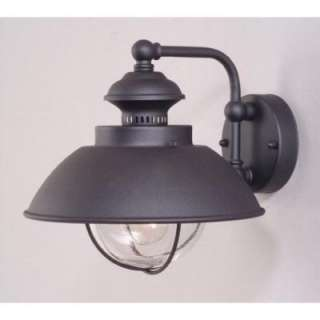 Nautical Med Outdoor Wall Lamp, Textured Black, Clear Seeded Glass