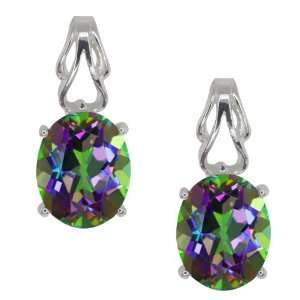 4.60 Ct Oval Green Mystic Topaz 18k White Gold Earrings Jewelry